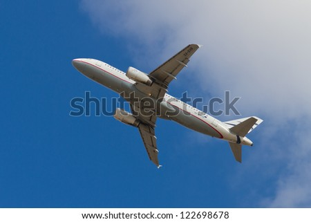 ISTANBUL - SEPTEMBER 08: Aegean Airlines Airbus A320-232 takeoff from IST on September 08, 2012 in Istanbul, Turkey. AA is the largest Greek airline by total number of passengers carried. - stock photo