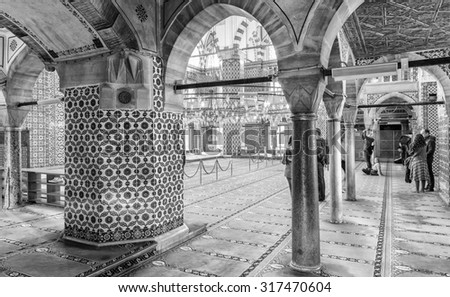 ISTANBUL - SEPTEMBER 21, 2014: Rustem Pasa Camii interior. The Mosque is in the Tahtakale neighborhood, of the Fatih district of Istanbul, Turkey.