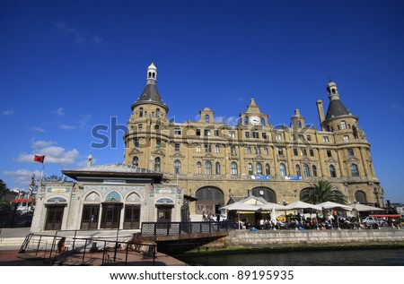 ISTANBUL - SEPTEMBER 19: Tourists visit Haydarpasa Central Station on September 19, 2011 in Istanbul. Built by Sultan Abdulhamid in 1908 as the starting point of the Istanbul-Baghdad railroad.