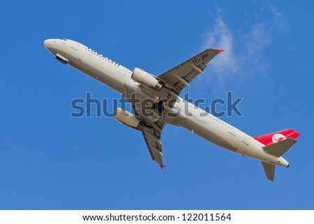 ISTANBUL - SEPTEMBER 08: Turkish Airlines Airbus A321 take off from IST on September 08, 2012 in Istanbul, Turkey. . THY operates scheduled services to 160 international and 41 domestic cities. - stock photo