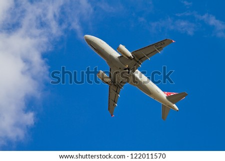ISTANBUL - SEPTEMBER 08: Turkish Airlines Airbus A319 take off from IST on September 08, 2012 in Istanbul, Turkey. TURKISH AIRLINES is named the Best Airline in Europe at the 2012. - stock photo