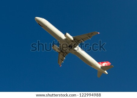 ISTANBUL - SEPTEMBER 08: Turkish Airlines Airbus A321 take off from IST on September 08, 2012 in Istanbul, Turkey. Turkish Airlines is the national flag carrier airline of Turkey. - stock photo