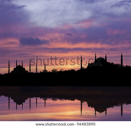 Istanbul silhouette - stock photo