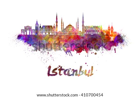 Istanbul skyline in watercolor splatters with clipping path - stock photo
