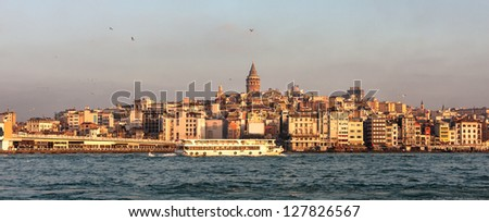 Istanbul skyline panorama. View of golden horn, Bosphorus and historical center of the city