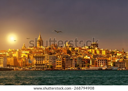 Istanbul skyline with Galata Tower at sunset, Turkey - stock photo