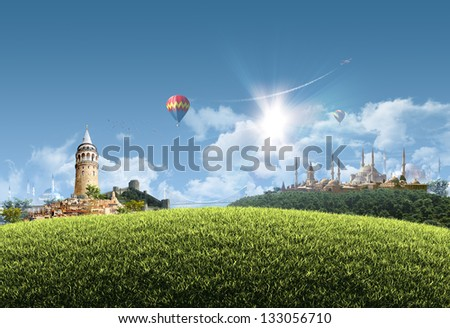 Istanbul Summer - photographic composition of famous landmarks of Istanbul, Turkey -  sunny cityscape background with grassy hill and clear blue sky - great for posters, cards or banners - stock photo