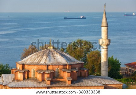 Istanbul, the mosque in the foreground, in the background Sea of Marmara and ships - stock photo