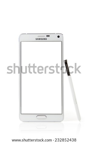 Istanbul, Turkei - October 25. 2014: Samsung Galaxy Note 4 Blank White Screen with clipping path - stock photo