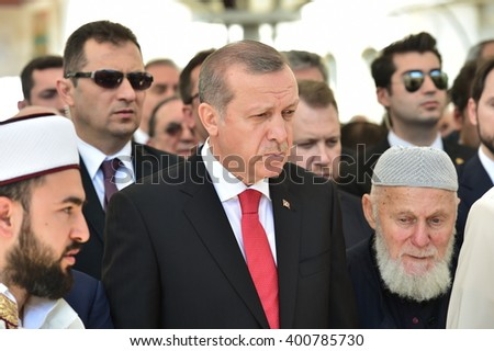 ISTANBUL, TURKEY- APR 4: Turkey President Recep Tayyip Erdogan attend the funeral on April 4,2016 in Istanbul, Turkey.