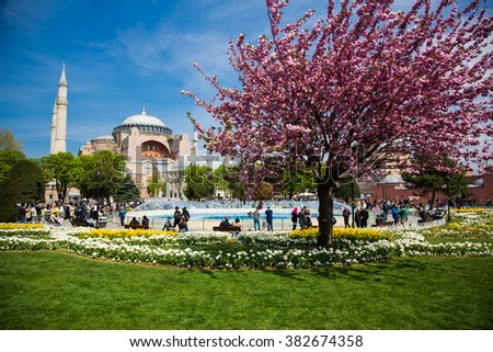 Istanbul Turkey - 19 Apr 2013: Visiting the Hagia Sophia in spring time - stock photo