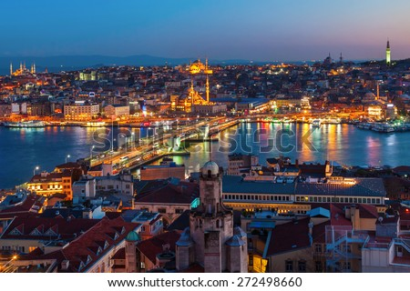 ISTANBUL, TURKEY - APRIL 10, 2015: aerial view over Istanbul at night. Istanbul is the largest city in Turkey and a famous travel destination - stock photo