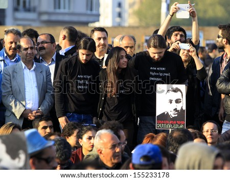 ISTANBUL,TURKEY-APRIL 24:Commemoration ceremony organized by The Say Stop to Racism and Nationalism initiative was held for the anniversary of the Armenian Genocide on April 24,2013 in Istanbul,Turkey