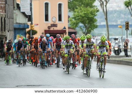 ISTANBUL, TURKEY - APRIL 24, 2016: Cyclists in Old Town of Istanbul during first stage of 52nd Presidential Cycling Tour of Turkey.