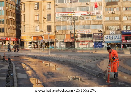 ISTANBUL, TURKEY - April 28: Early morning activity on the streets, April 28, 2013 in Istanbul, Turkey. The Sultanahmet District of Istanbul is in the heart of the historic old Istanbul - stock photo
