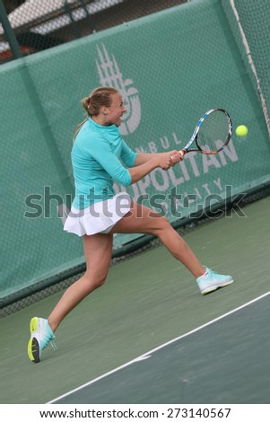 ISTANBUL, TURKEY - APRIL 23, 2015: Estonian player Anett Kontaveit in action during R32 match against Belarusian player Aliaksandra Sasnovich in 2015 Istanbul Lale Cup