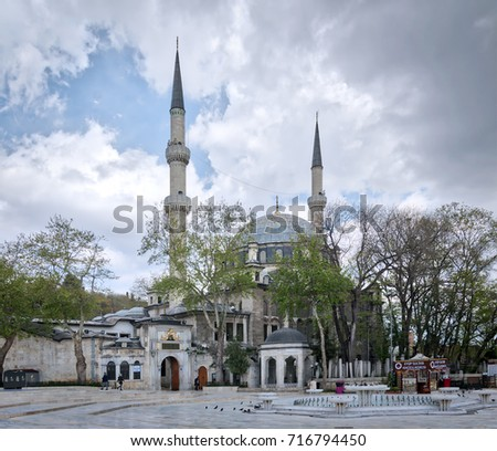Istanbul, Turkey - April 24, 2017: Exterior day shot of Eyup Sultan Mosque situated in the Eyup district of Istanbul, Turkey outside the city walls near the Golden Horn