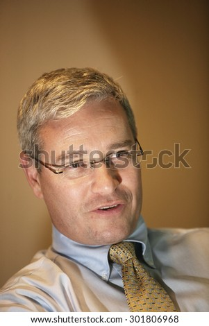 ISTANBUL, TURKEY - APRIL 2: Famous American businessman, Merck Sharp and Dohme Executive Director Jeffrey Kemprecos portrait on April 2, 2009 in Istanbul, Turkey. - stock photo