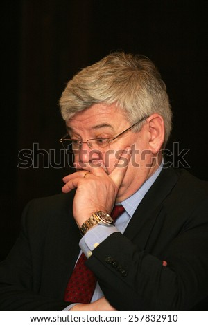 ISTANBUL, TURKEY - APRIL 11: Famous German politician Joschka Fischer portrait on April 11, 2008 in Istanbul, Turkey. He served as Foreign Minister and Vice Chancellor of Germany from 1998 to 2005.