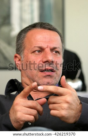 ISTANBUL, TURKEY - APRIL 25: Famous Turkish businessman, director, filmmaker and film producer Fatih Aksoy portrait on April 25, 2008 in Istanbul, Turkey. - stock photo