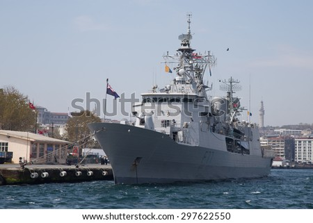 ISTANBUL, TURKEY - APRIL 26, 2015: HMNZS Te Kaha (F77) war ship in Istanbul port. Royal New Zealand Navy visit turkey for 100th Anniversary of Battles of Gallipoli.
