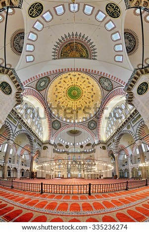 ISTANBUL, TURKEY - APRIL 4, 2011: Interior of the Suleymaniye Mosque. This largest mosque of Istanbul was built in 1550-1580 by design of the chief Ottoman architect Mimar Sinan. - stock photo