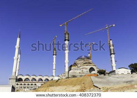 ISTANBUL, TURKEY - APRIL13, 2016: New Camlica mosque,Camlica Cami in Turkish,is still under construction which is the largest mosque yet to be constructed in Turkey located  on Camlica hill in Turkey.