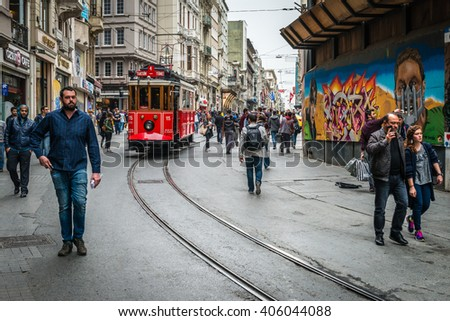 Istanbul, Turkey - April 08, 2016: People are walking down the Istiklal street in Istanbul, Turkey