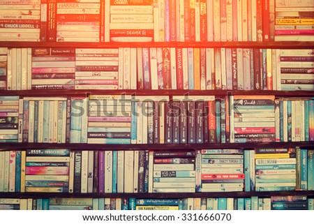 ISTANBUL, TURKEY - 29 APRIL: Shelves of books in the bookstore - stock photo