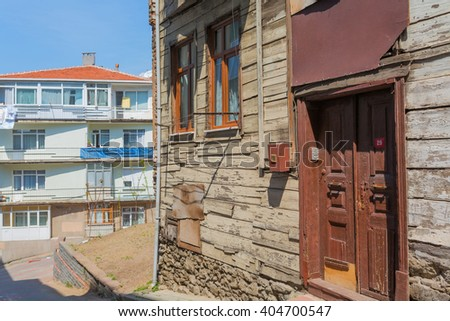 ISTANBUL, TURKEY - APRIL 27, 2015: Street with old houses, Uskudar district of Istanbul