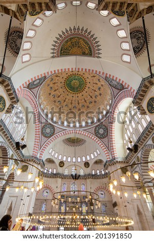 ISTANBUL, TURKEY, - APRIL 28: Symmetrical composition of the interior of the famous mosque, on April 28, 2013,  in Istanbul, Turkey,