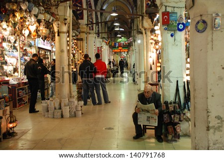 ISTANBUL,TURKEY  APRIL 14: The Grand Bazaar in Instanbul April 14, 2011 in Istanbul Turkey. The Grand Bazaar is one of the largest and oldest covered markets in the world, with over 3,000 shops. - stock photo