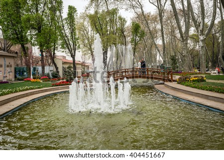 Istanbul, Turkey - April 08, 2016: Tourists are enjoying the spring time in Gulhane park. It is the oldest public park in istanbul