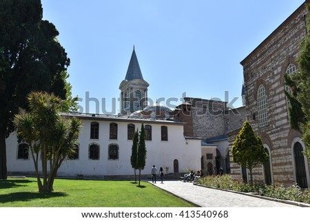 ISTANBUL,TURKEY - APRIL 30: Tourists entering Topkapi Palace on April 30,2016, Istanbul, which was the primary residence of the Ottoman Sultans for app. 400 years (1465-1856) of their 624 y.reign.