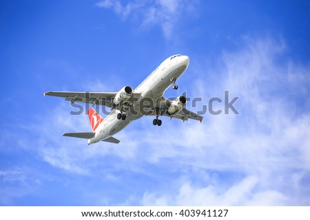Istanbul, Turkey; April 11, 2016: Turkish airlines airplane low pass during the morning with blue sky and elegant view