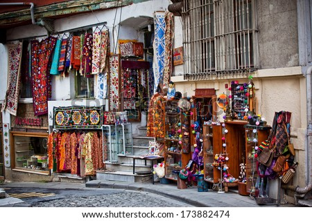 ISTANBUL, TURKEY - APRIL 14: Turkish carpets in turkish bazaar, on April 14, 2013 in Istanbul, Turkey. Turkish carpets are the most well known and established hand crafted art works in the world.