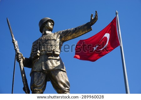 ISTANBUL,TURKEY- APRIL 17: Turkish Soldier Statue on April 17, 2015 in Istanbul. Its located at Istanbul, to commemorate the formation of the Turkish Republic in 1923. - stock photo