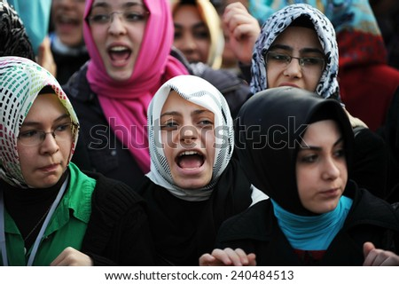 ISTANBUL, TURKEY- APRIL 12: Unidentified Muslim demonstrators in Turkey. protested the education system on April 12, 2009 in Istanbul,Turkey