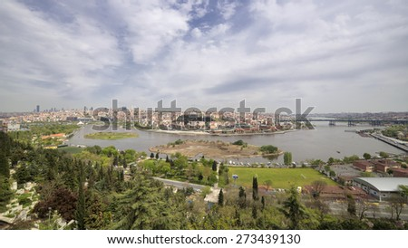 ISTANBUL, TURKEY, APRIL 28, 2015: Wide angle shot of Holden Horn, also known by its modern Turkish name as Halic, is a major urban waterway and the primary inlet of the Bosphorus in Istanbul, Turkey - stock photo
