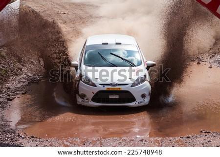 ISTANBUL, TURKEY - AUGUST 17, 2014: Eytan Halfon drives Ford Fiesta R2 car in Avis Bosphorus Rally, Gocbeyli Stage - stock photo