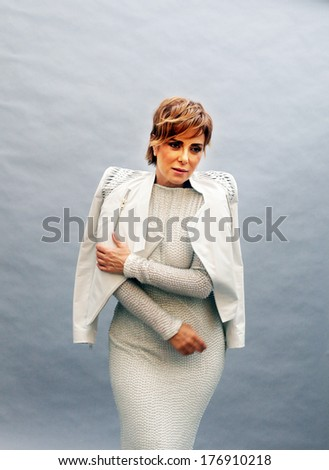 ISTANBUL, TURKEY - AUGUST 24: Famous Turkish actress, singer and thespian Zuhal Olcay on August 24, 2011 in Istanbul, Turkey. Zuhal Olcay started first as an actress in 1980's. - stock photo