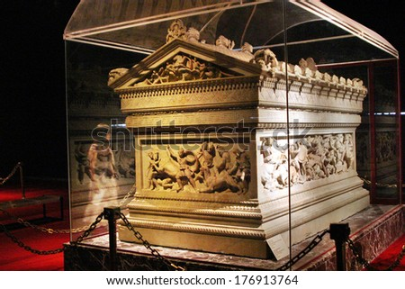 ISTANBUL, TURKEY - AUGUST 7: Great Alexander's Sarcophagus in Istanbul Archaeology Museum on August 7, 2005 in Istanbul, Turkey. Museum over one million objects that represent almost all of the eras. - stock photo