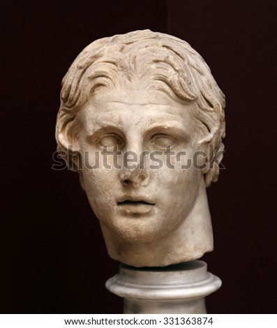 ISTANBUL, TURKEY - AUGUST 07, 2015: Istanbul Archaeological Museum - A bust of Alexander the Great from Pergamum, first half o f the 2nd Century BC. - stock photo