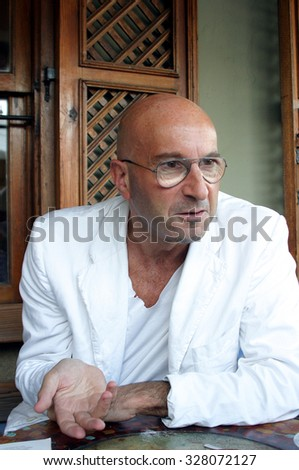 ISTANBUL, TURKEY - AUGUST 14: London Fashion Week founder, Art Institute of California fashion teacher and show producer Michael Rosen portrait on August 14, 2005 in Istanbul, Turkey.