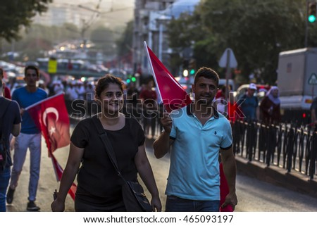 ISTANBUL,TURKEY-AUGUST 7 : Millions of people gathered Aug. 7 at a meeting venue in Istanbul Yenikapi area for a massive joint democracy rally to protest the July 15 coup attempt on August 7, 2016.