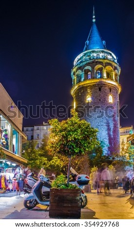 ISTANBUL, TURKEY, AUGUST 21, 2014: Night view over illuminated galata tower in beyoglu, istanbul. - stock photo