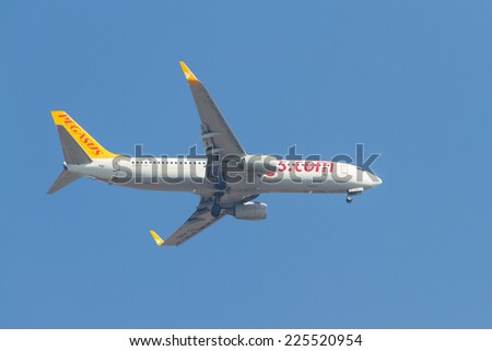ISTANBUL, TURKEY - AUGUST 16, 2014: Pegasus Airlines Boeing 737-800 landing to Sabiha Gokcen Airport. Pegasus is the second largest airlines in Turkey with 54 airplanes.