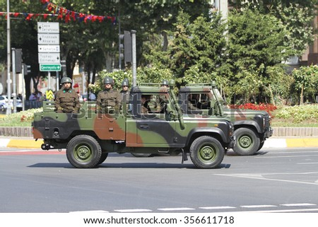 ISTANBUL, TURKEY - AUGUST 30, 2015: Soldiers in vehicles during 93th anniversary of 30 August Turkish Victory Day parade on Vatan Avenue