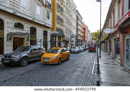 ISTANBUL, TURKEY - August 27 ,2015: Streets of Istanbul.