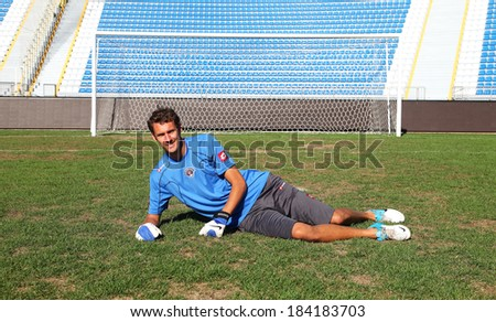 ISTANBUL, TURKEY - AUGUST 3: Swedish football player and Swedish National Team goalkeeper Andreas Isaksson on August 3, 2012 in Istanbul, Turkey. Andreas Isaksson playing at Kasimpasa Football Team.